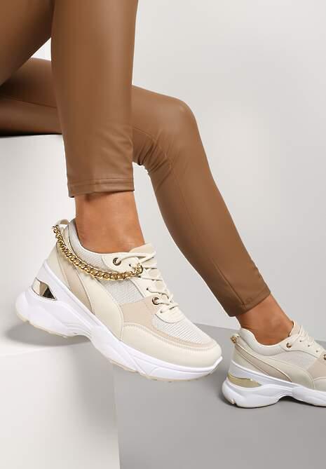 Beżowe Sneakersy Metite