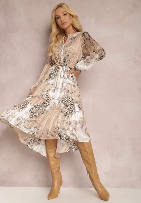 Biało-Beżowa Sukienka Urara