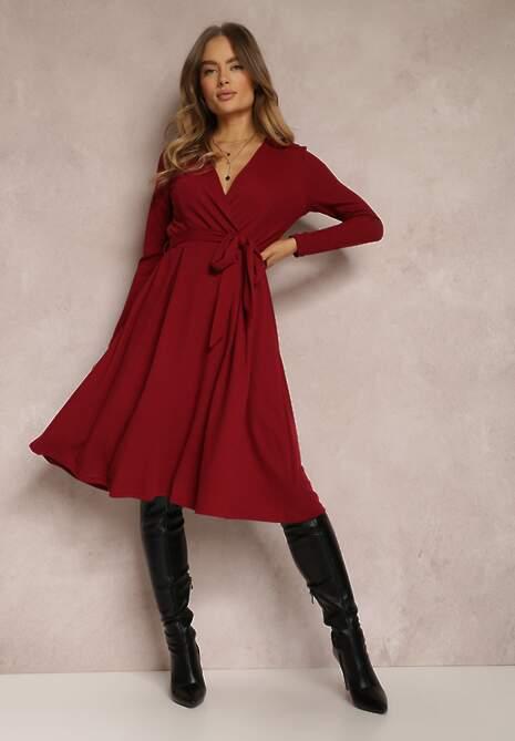 Bordowa Sukienka Phlorinis