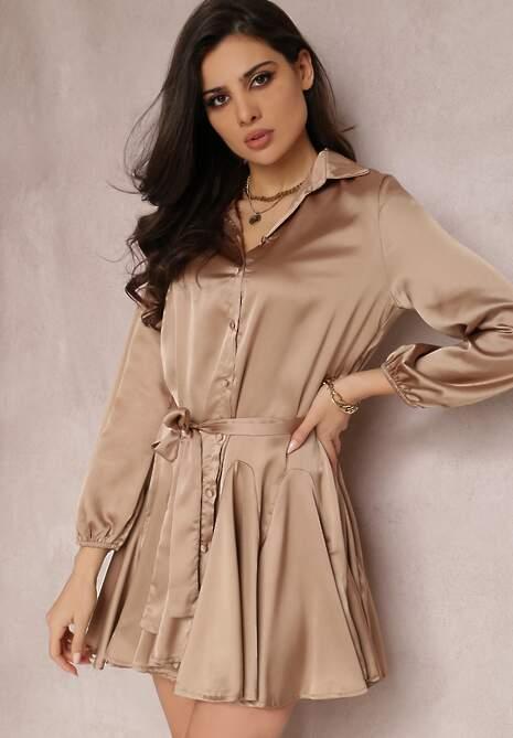 Ciemnobeżowa Sukienka Derie