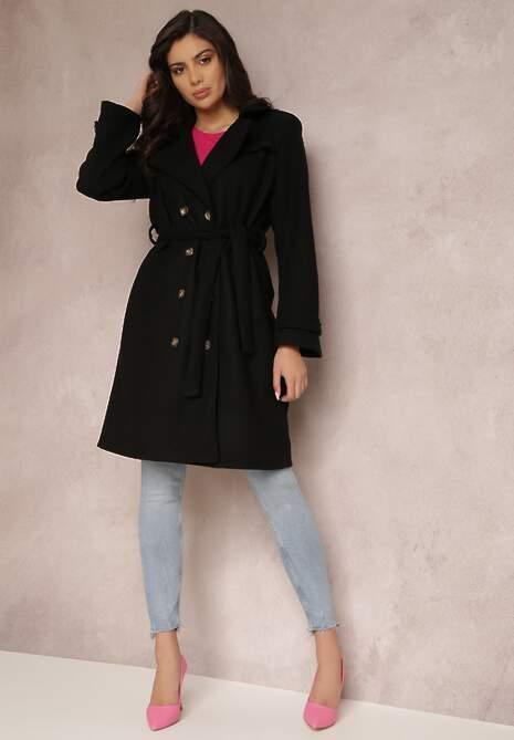 Czarny Płaszcz Lyvaeno
