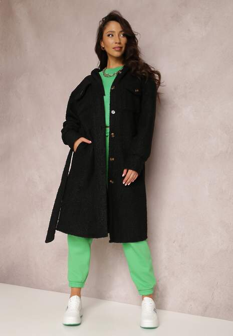 Czarny Płaszcz Teddy Bear Sephyre