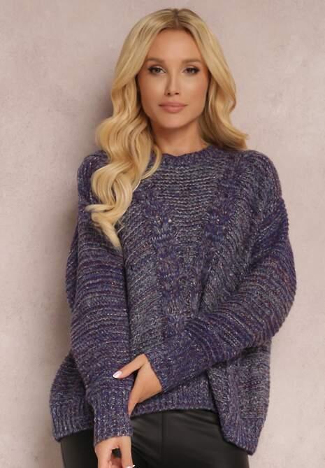 Niebieski Sweter Wełniany Lyninore