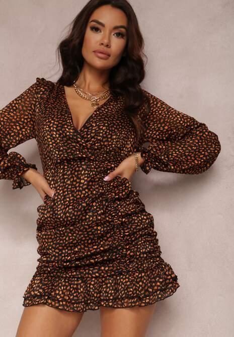 Czarno-Pomarańczowa Sukienka Wolfgrove