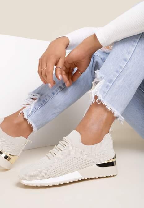 Beżowe Buty Sportowe Hythia