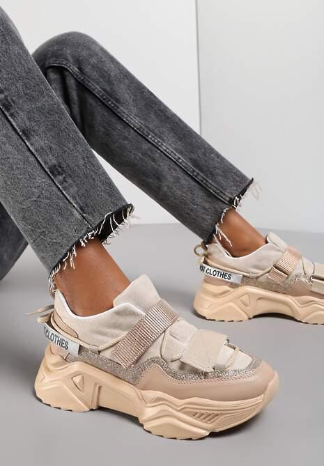Beżowe Sneakersy Adeis