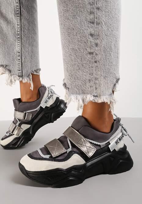 Czarno-Szare Sneakersy Adeis