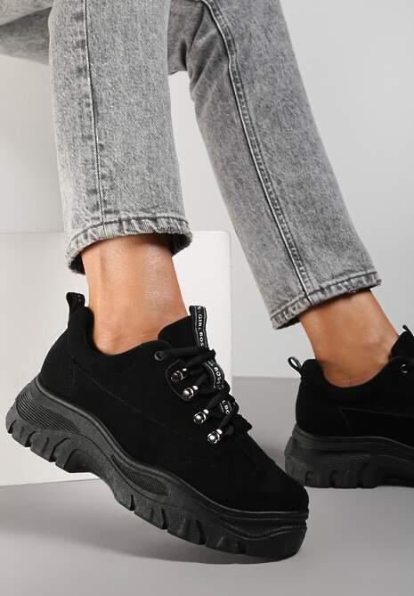 Czarne Zamszowe Sneakersy Farwynn
