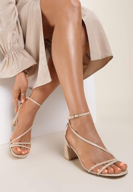 Beżowe Sandały Klethelia