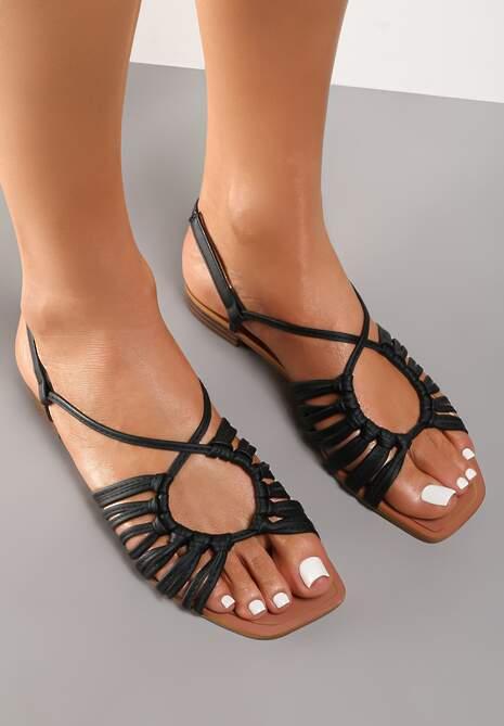 Czarne Sandały Euphenele