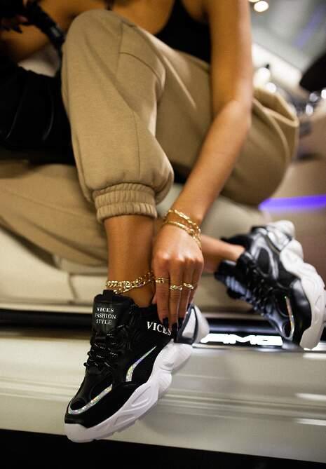 Czarne Sneakersy Naerime