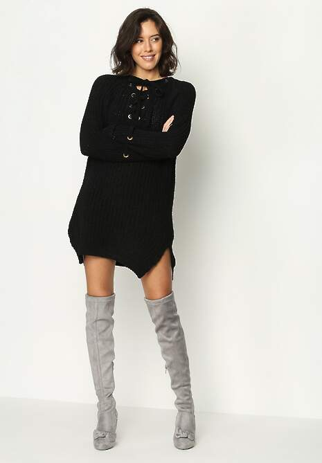 Czarny Sweter Long