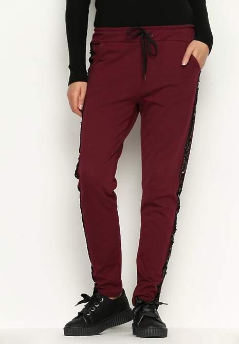Bordowe Spodnie Dresowe Comfy
