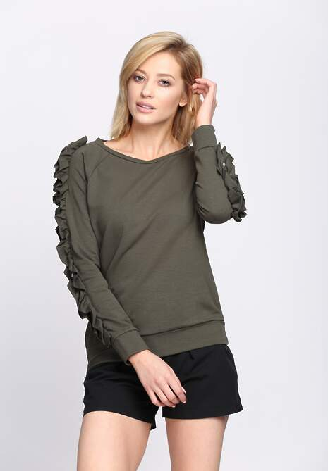 Ciemnozielona Bluza Fancy Sleeves