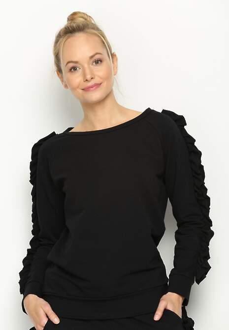 Czarna Bluza Fancy Sleeves
