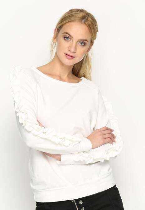 Biała Bluza Fancy Sleeves