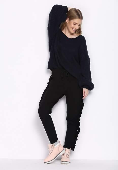 Czarne Spodnie Dresowe Loosen