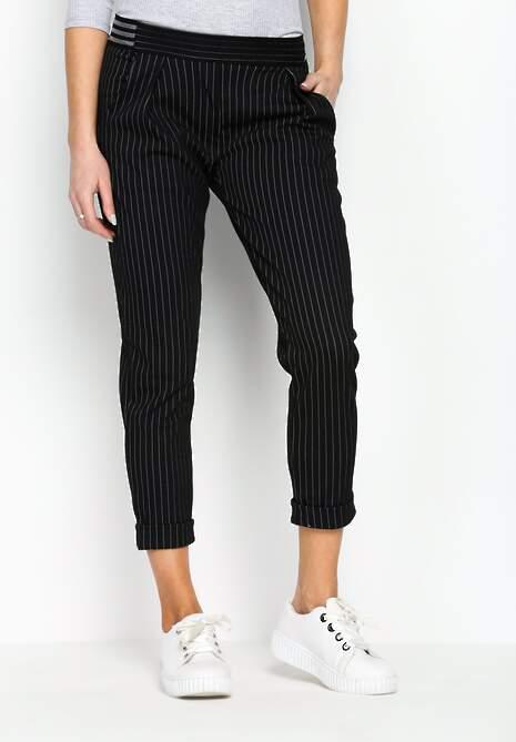 Czarne Spodnie White Stripes
