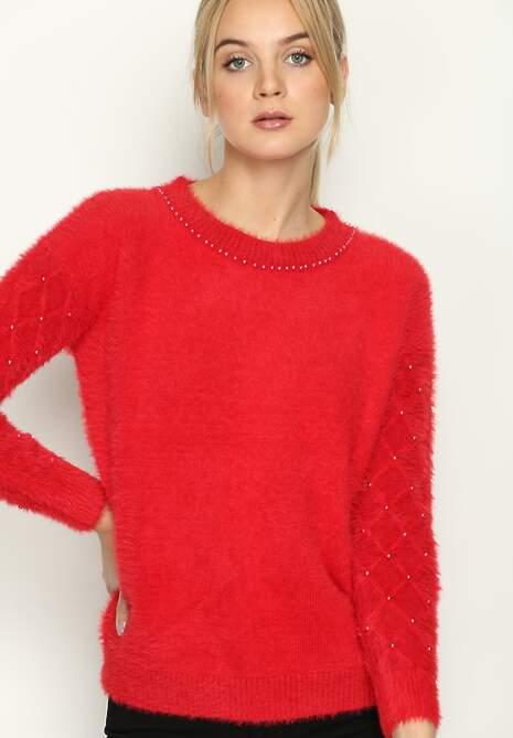 Czerwony Sweterek Pearl Drop