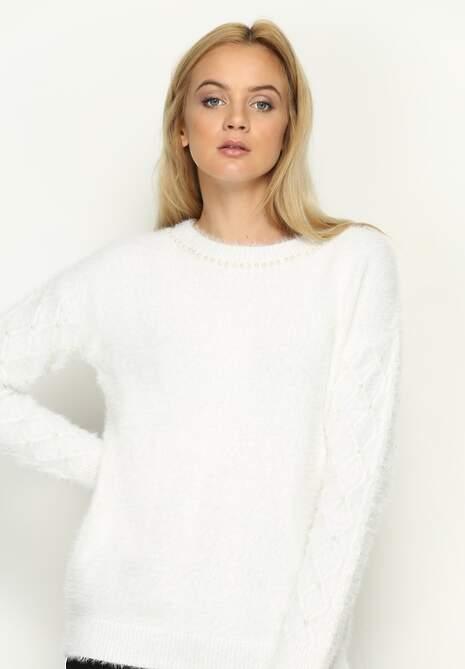 Biały Sweterek Pearl Drop