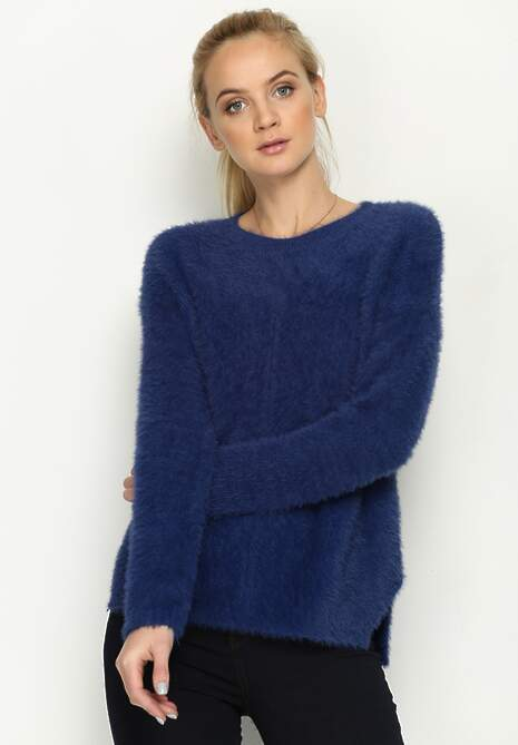 Granatowy Sweter Angle Cut