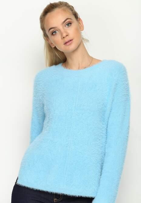 Niebieski Sweter Angle Cut