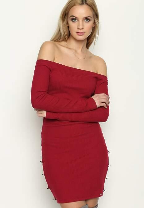 Czerwona Sukienka Pearl of Jersey