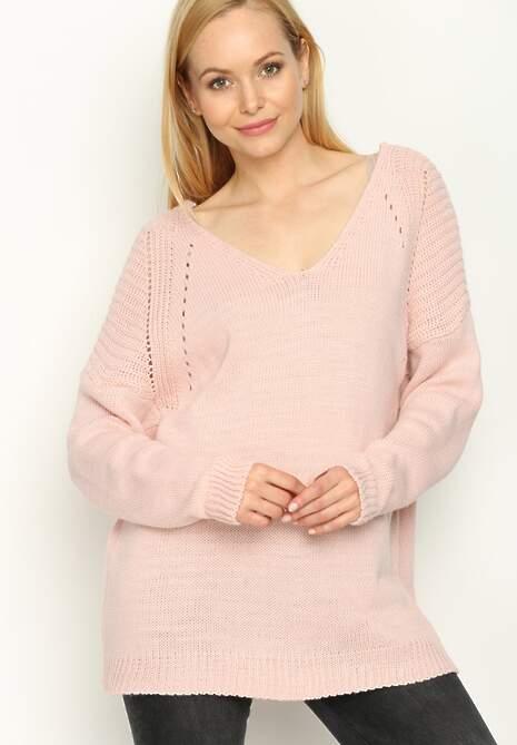 Różowy Sweter Back Ribbon
