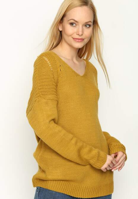 Camelowy Sweter Back Ribbon