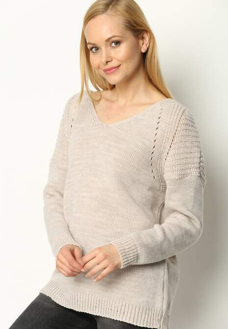 Beżowy Sweter Back Ribbon