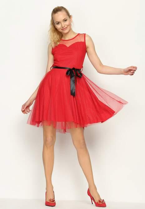 Czerwona Sukienka Sheer