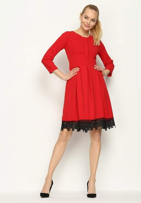 Czerwona Sukienka Laces Ribbon