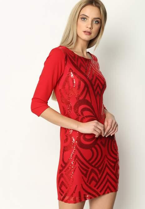 Czerwona Sukienka Art Deco