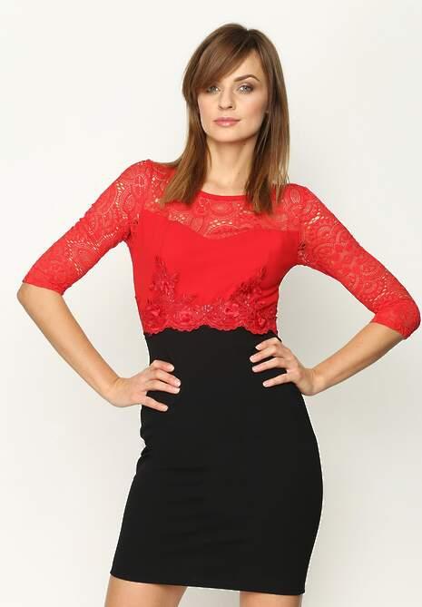 Czerwono-Czarna Sukienka Pretty Lady