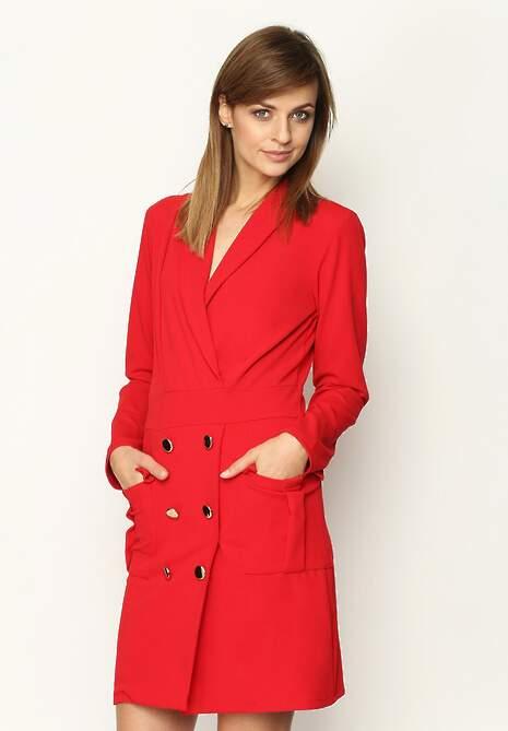 Czerwona Sukienka Tuxedo