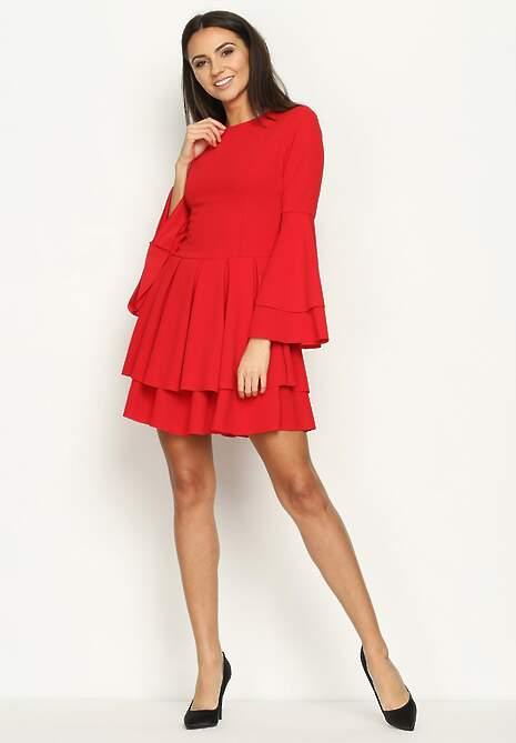 Czerwona Sukienka Hippie Dress