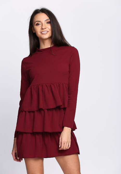 Bordowa Sukienka Modesty And Chic