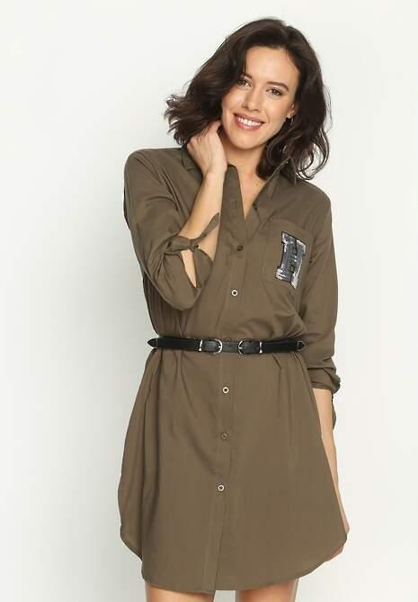Khaki Sukienka Sequinned
