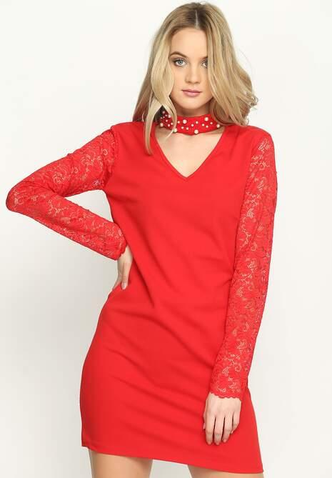 Czerwona Sukienka Choker