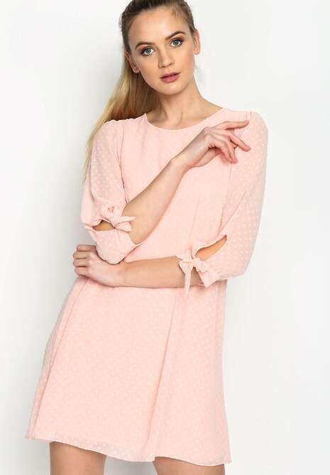Różowa Sukienka Ribbons On Sleeve