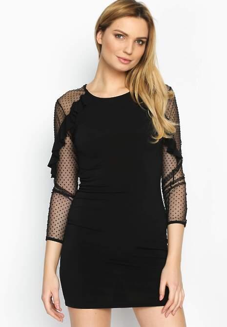 Czarna Sukienka Transparent Sleeves