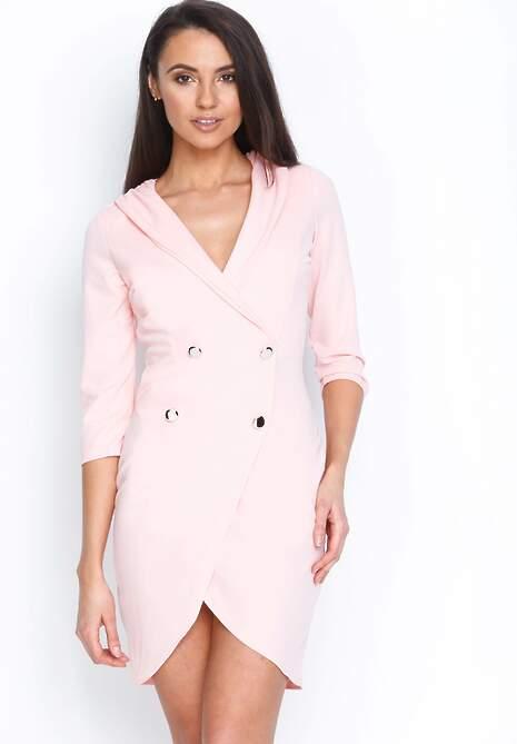 Różowa Sukienka Four Buttons