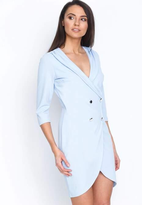 Niebieska Sukienka Four Buttons