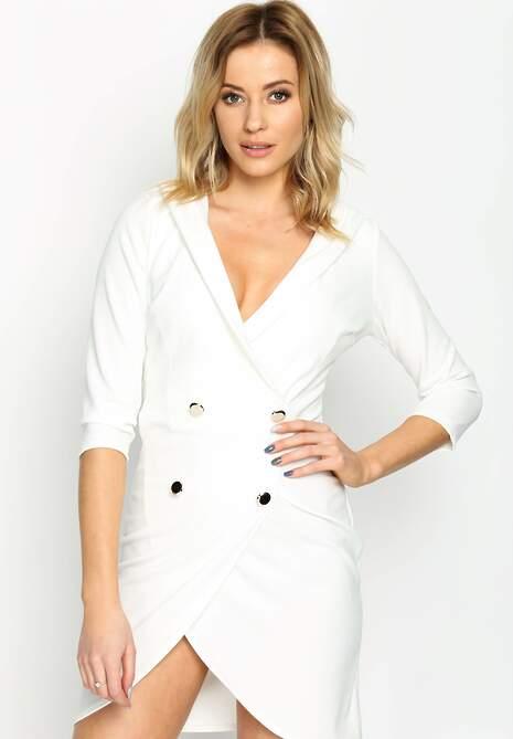 Biała Sukienka Four Buttons