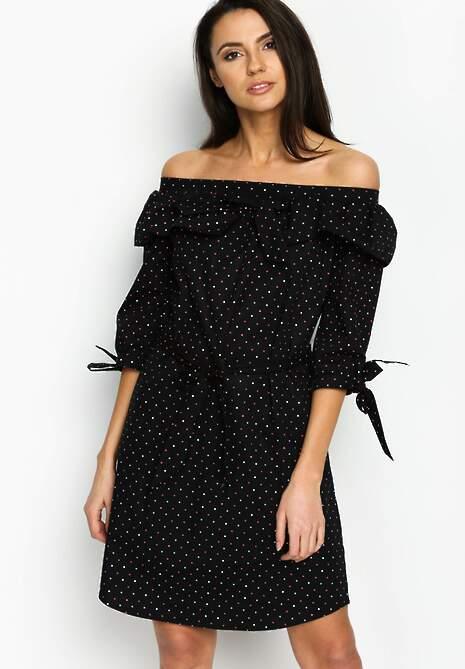 Czarna Sukienka Flamenco Dots