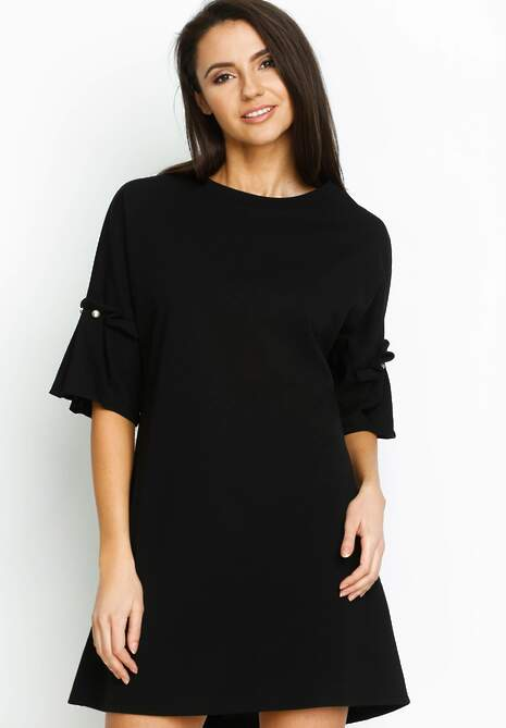 Czarna Sukienka Pleated Sleeves