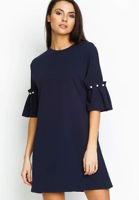 Granatowa Sukienka Pleated Sleeves