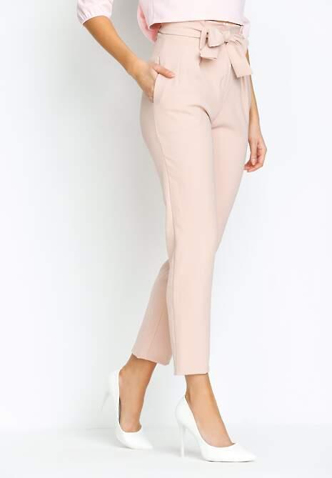 Różowe Spodnie Ribbon Belt