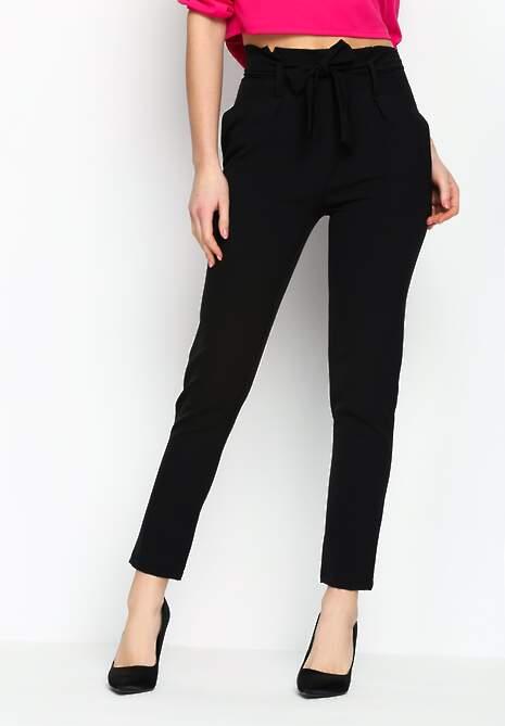 Czarne Spodnie Ribbon Belt