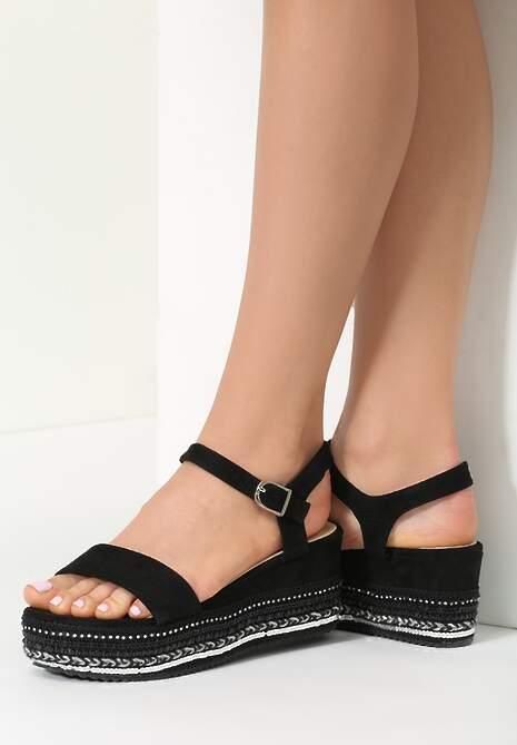 Czarne Sandały Pick Up